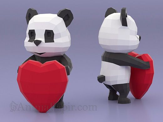 Model - Panda with Heart, panda papercraft, low poly panda