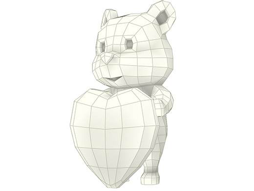 Model - Panda with Heart, panda papercraft, low poly panda, paper