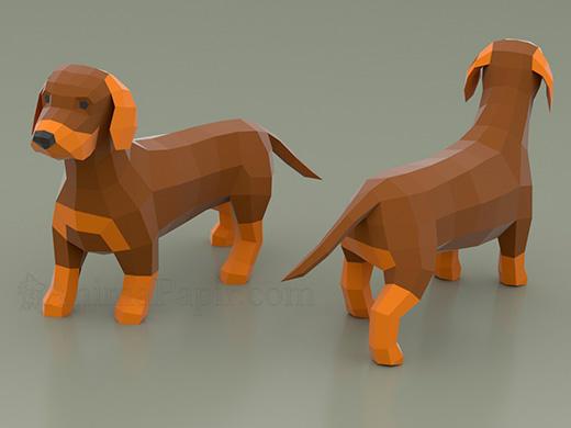 Model - Dachshund, dachshund papercraft, low poly dachshund, paper